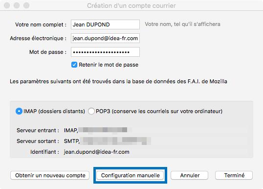 Mozilla Thunderbird > Création d'un compte courrier